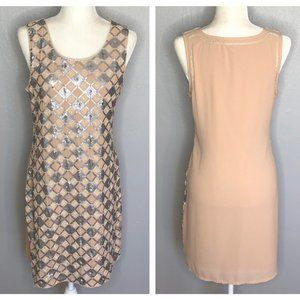Nude Bodycon Knit Dress with Diamond Sequin Front